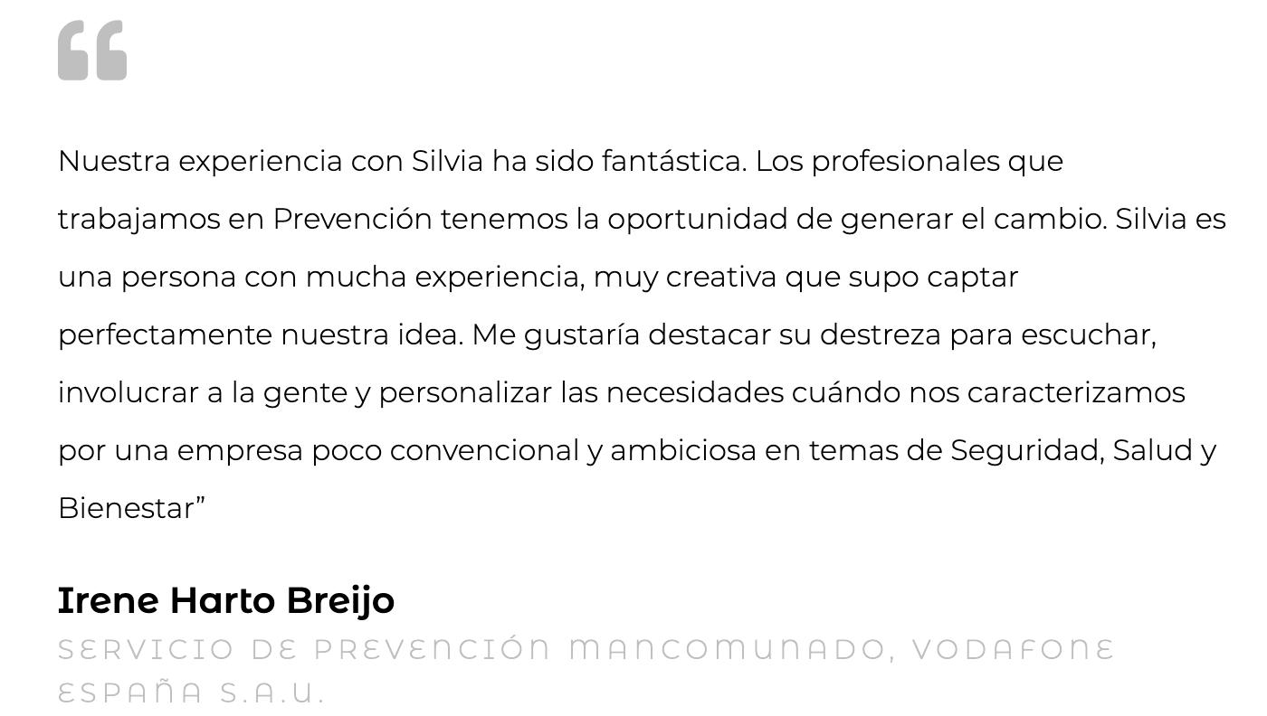 Silvia Oceransky Cultura Preventiva opiniones Asistencia Técnica Irene Harto Breijo