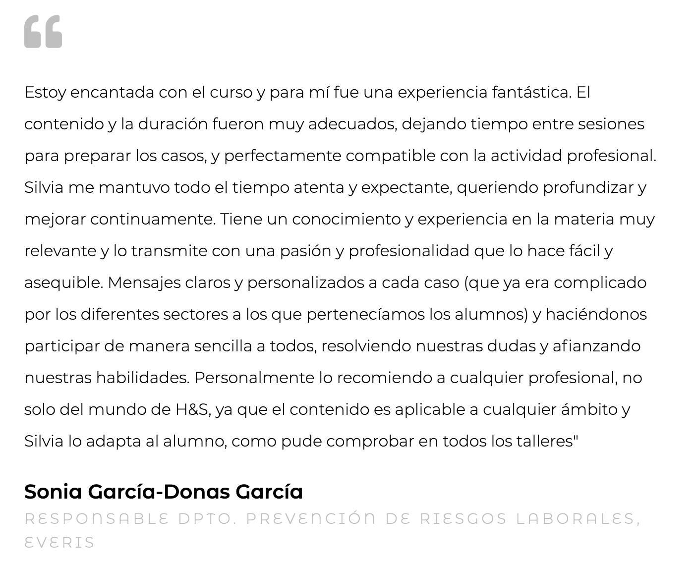 Silvia Oceransky Cultura Preventiva opiniones Sonia Garcia-Donas