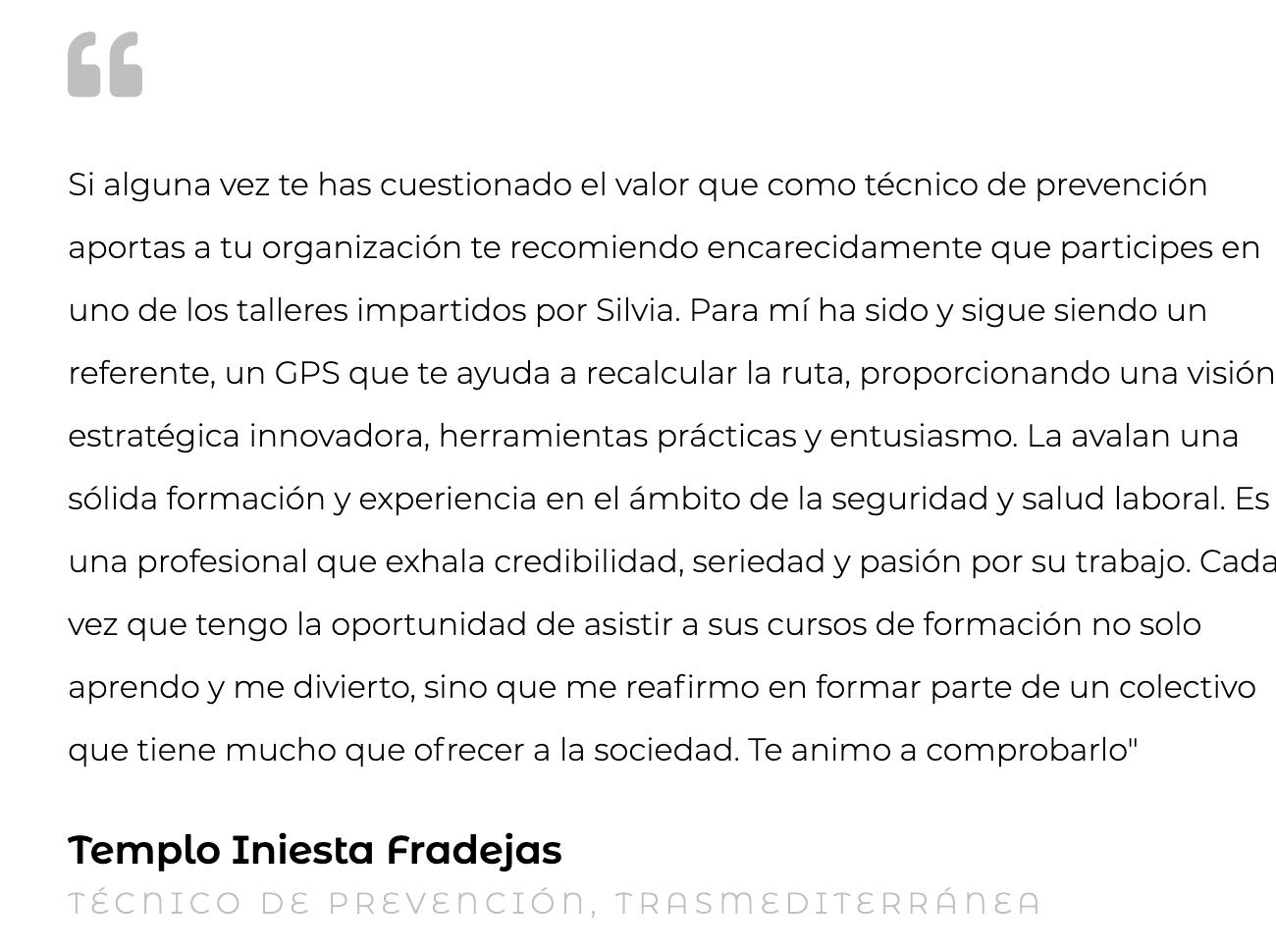Silvia Oceransky Cultura Preventiva opiniones formacion Templo Iniesta Fradejas